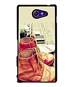 FUSON Designer Back Case Cover for Sony Xperia M2 Dual :: Sony Xperia M2 Dual D2302 (Crazy Boys Shoes hanging With lays Vintage Old Fashion)
