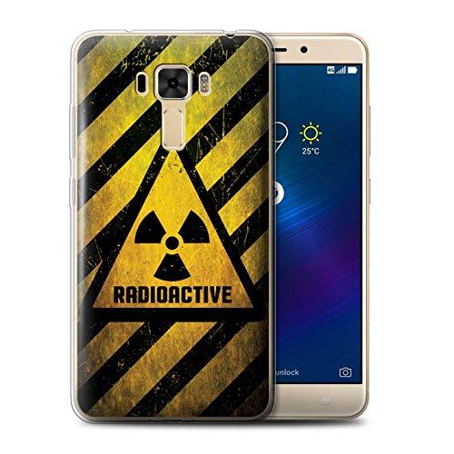 Custodia/Cover/Caso/Cassa Gel/TPU/Prottetiva STUFF4 stampata con il disegno Segnali di avvertimento di pericolo per Asus ZenFone 3 Laser ZC551KL - Radiazione