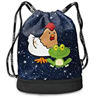 Mbefore Drawstring Sports Backpack Frog and Chicken Men and Women Gym Sport Yoga Shoulder Bags