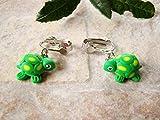 boucles d'oreilles enfants clips tortues kawaii fimo