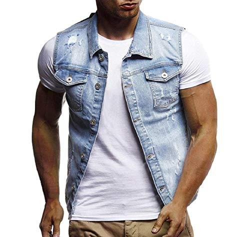 Greatfun shirtuomo sexy autunno inverno distrutto vintage giacca di jeans gilet camicetta gilet top creativo senza maniche sport estivi stampato camicetta slim fit sottile