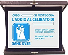 Idea Regalo - t-shirteria Targa Premio Addio al Celibato - Game Over - Idea Regalo - in Alluminio e Velluto