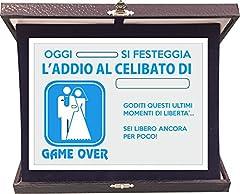 Idea Regalo - Targa Premio Addio al Celibato - Game Over - idea regalo - in alluminio e velluto