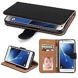Galaxy J5 2017 Hülle, SOWOKO Leder Etui Flip Case Handyhülle für Samsung Galaxy J5 (2017) Brieftasche Tasche mit Integrierten Kartensteckplätzen und Ständer /Magnetverschluss, Schwarz