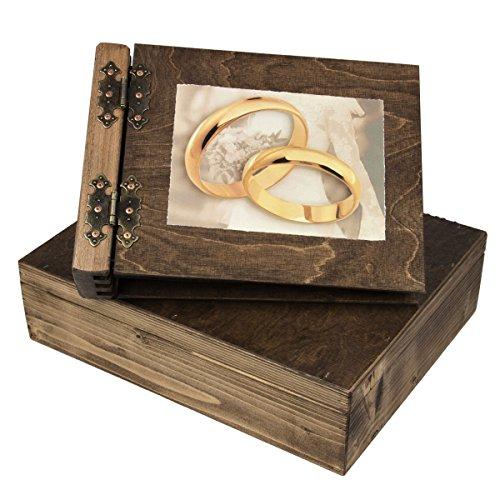 Aldecor - Album fotografico per matrimoni, con cofanetto in legno, 150 pagine nere, copertina e dorso a battente, motivo: anelli grandi - La Angels Gift Box