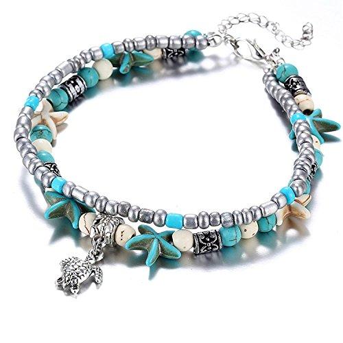 Skgardeniamy Cavigliera decorata con tartaruga, stelle marine e perle sintetiche, bracciale per caviglia, ideale in spiaggia e come regalo per una (Argento) (1)