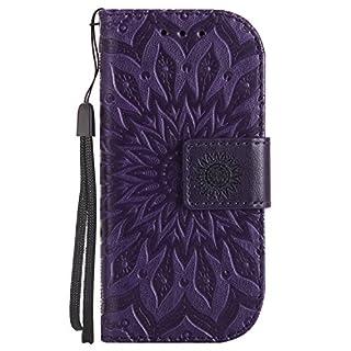 FNBK Nokia 3310 Hülle Leder Wallet Card Holder Sonnenblume B-Purple
