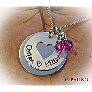 Namenskette, Familienkette, Monatssteinkette, Herzkette, mit Gravur