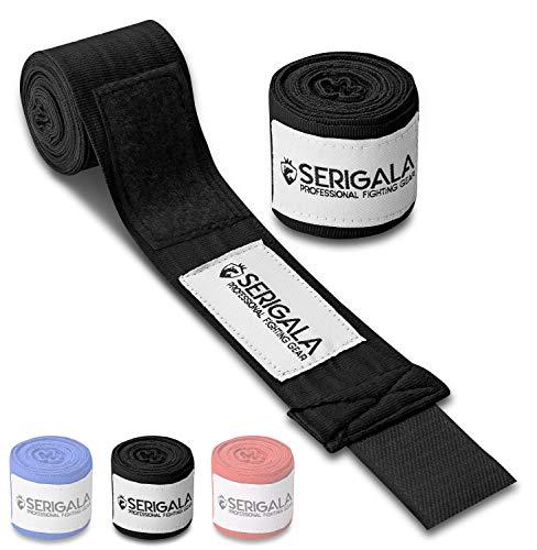 Serigala 4,5m Boxbandagen mit Daumenschlaufe - Halb elastische Box Bandagen für Boxing mit extra breitem Klettverschluss - Kampfsport Bandage zum Boxen, Thaiboxen, Kickboxen, MMA und Muay Thai Schwarz