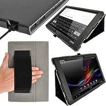"""igadgitz Negro 'Portfolio' Eco-Piel Funda Case Cover para Sony Xperia Tablet Z 10.1"""" Android Tablet. Con Función Reposo/Activación & Correa de mano integrado.+ Protector de Pantalla"""