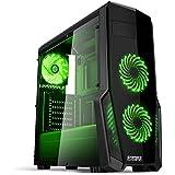 Empire Gaming - Case PC Gaming WarFare Nero LED Verde: USB 3.0 e 3 Ventole LED 120 mm, parete laterale trasparente affumicato - ATX / mATX / mITX
