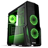 Empire Gaming - Caja PC para juegos WarFare negra LED verde: USB 3.0, 3 ventiladores LED 120 mm, pared lateral...