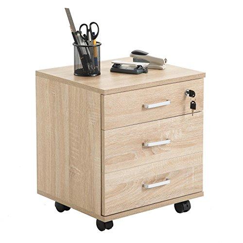 CARO-Möbel Rollcontainer SATURN Aktenschrank Bürocontainer mit 3 Schubladen in Sonoma Eiche, abschließbar