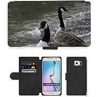 Grand Phone Cases PU Flip Carcasa Funda de Cuero Piel Cubre Case // M00140695 Branta Canadensis Canada Goose Uccello // Samsung Galaxy S6 (Not Fits S6 Edge)
