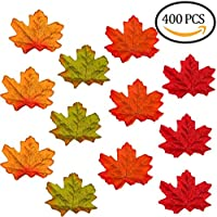 Muscccm 400 piezas variadas hojas de arce artificiales de Colores de Otoño Mezclados para Bodas, Acción de Gracias, Eventos y Decoración al Aire Libre del café de hoja de arce