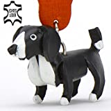 Border Collie Dog - key-ring deco figure made of genuine leather in the category plush toy / stuffed animal / soft toy by Monkimau Article in black white - your best friend. Always there! - about 5cm