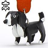 Monkimau 8015 Border Collie Hund-e Schlüsselanhänger Deko-Figur 3D Charm-s 5cm handgefertigte Haus-Tier Leder Anhänger Tier-Liebhaber Geschenk Spielzeug Ornamente Deko-Ration