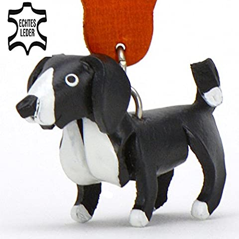 Border Collie Dog - Leather Key - Chain - Holder - Ring in high Quality Airbrush Design, gifts, soft toy, mug, t shirt, ornament