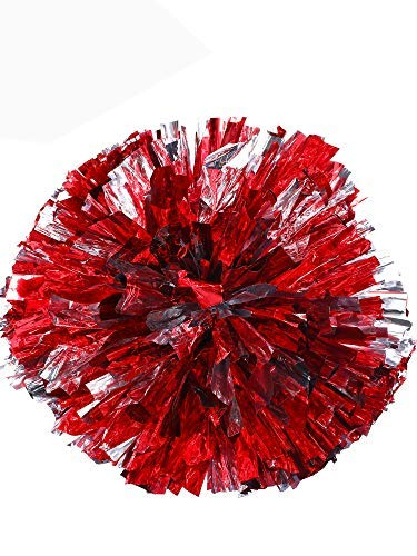 2 Packung Cheerleading Pompoms Metallic Blume Ball Folie Kunststoff Ringe Pom Poms für Jubel, Tanzgruppe (Rot und Silber) (Basketball Spieler Kostüm Mädchen)