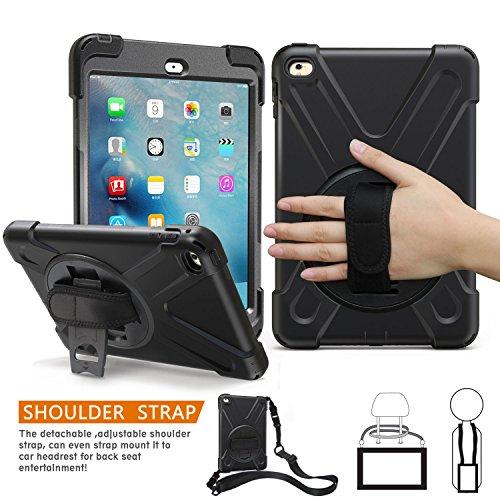 iPad Mini 4 Hülle, BRAECN Drei Schicht Drop Schutz Robuste Schutz Heavy Duty Schlagschutz Case mit einer 360 Grad drehbar Ständer/ Handschlaufe und Schultergurt für iPad Mini 4 Schutzhülle (Schwarz)