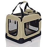 LCP Handels GmbH Klappbare Hundebox Hund Transportbox Faltbare Stoff Hundefaltbox Polster Henkel Trage Tasche; 70x52x52 cm Beige