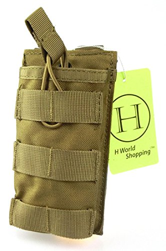 H Welt EU Taktische Molle M4 M16 AR15 Magazin Tasche Open Top Mag Halter Single Airsoft MOLLE Mag Pouch (Tan) -
