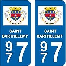 2 Autocollants style plaque auto département 977 SAINT BARTHELEMY
