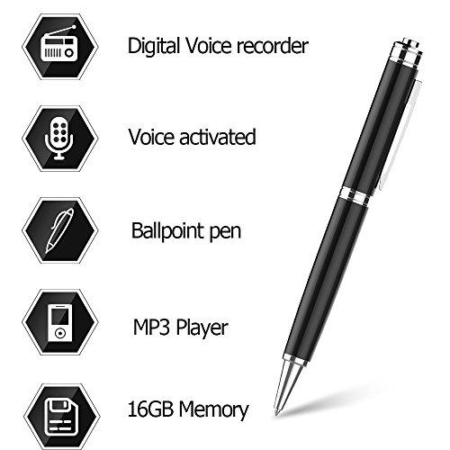 Grabador de Voz Digital Bolígrafo por EVISTR,Grabadora Activada Voz de 16GB Bolígrafo,Dictáfono,Reproductor de MP3 3 en 1,Un Botón Grabación y Ahorro Perfecto Para Conferencias,Reuniones