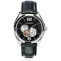binlun Nero Big Cronografo Scheletro Meccanico Automatico 24h display orologio da polso con cinturino in pelle