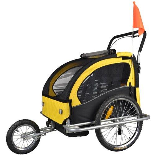Rimorchio porta-bimbo per bicicletta con set da jogging - giallo/nero- 502-04
