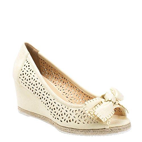 Ideal Shoes Sandales Compensées et Ajourées avec Nœud Laiza Jaune