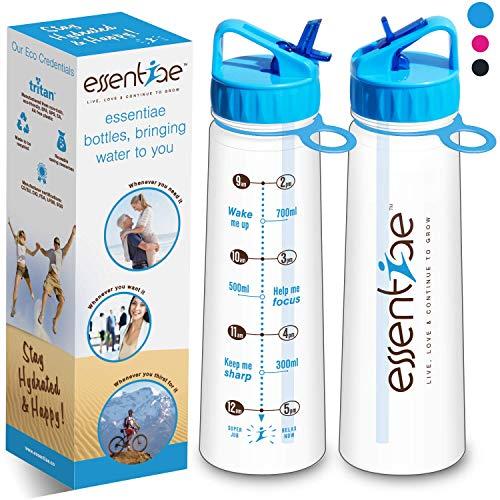essentiae Motivational Trinkflasche mit Strohhalm und Times to Drink BPA Free 900ml