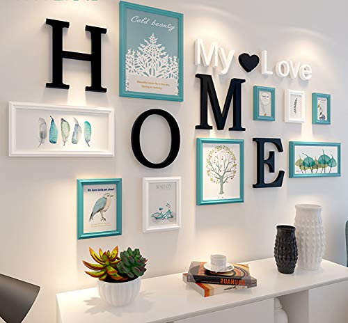 Rahmen Massivholz (MUZIDP Massivholz Fotowand,Kreativ Foto-Rahmen-Wand Bild Rahmen Collage Für Wohnzimmer Restaurant Hintergrundwand-C)