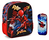 Zaino Asilo bambino Spiderman 3D + Astuccio scuola 3D 31x27x9cm in Rilievo