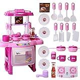 Qwhome Kinder Küche Spielzeug, Kinder Küche Kochen Rollenspiel Spielzeug Set mit Licht Sound-Effekt,Pink
