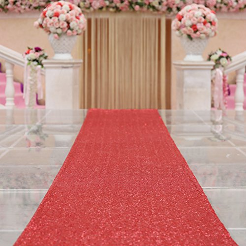 TRLYC 4 ftx16ft-wedding Gang Läufer Glitzer carpert Runner Pailletten Gänge Boden Hochzeit Zeremonie Decor 4FTx20FT Rot