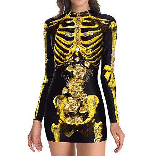 Gothic Halloween Kostüm, Damen Halloween Skelett Kostüm Frauen Cosplay Kostüm Oansatz Menschliches Skelett Print Langarm Kleid Gruselig (Tanz Kostüm Für Erwachsene Lehrer)