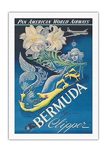 Pacifica Island Art Bermudas mit Clipper - Pan American (Fluggesellschaft) - Vintage Retro Fluggesellschaft Reise Plakat von Boris Artzybasheff c.1947 - Kunstdruck auf Leinwand - 69cm x 102cm