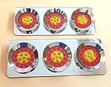 2 x CHROM EDELSTAHL 3 Runden LED Rücklicht Triple Lights 24V LKW Anhänger Fahrgestell