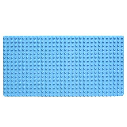 Katara 1739 - Große Grundplatte, Bauplatte Mit Noppen Für Lego Duplo Ohne Steine - 51 cm x 26 cm, Rechteckig für Häuser uvm. – Riesige Platte Für Riesigen Spiel- und Bauspaß Mit Kinder, Blau