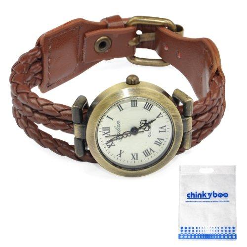 Chinkyboo Handyskin Damen Armbanduhr, Durchmesser 2,8cm, Länge 22cm, Kaffeebraun