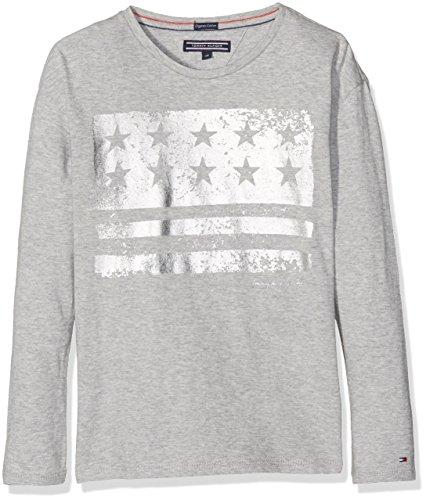 Tommy Hilfiger Mädchen Ame Flag Cn Knit L/s T-Shirt, Grau (Grey Heather), 14 Jahre (Herstellergröße: 14) (Lange Ames Ärmel)