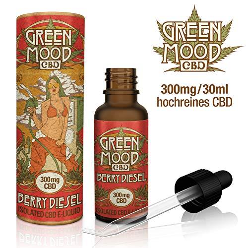 GREEN MOOD CBD E-Liquid, BERRY DIESEL 300mg hochqualitatives CBD in 30ml + 1,5{7eb4561f91bdc371789d4d7364b11a1de2b8171ecdb38bcdea612e6e4fdf734d} natürliche TERPENE + Erdbeer-Minze Aroma für E-Zigaretten/Vaporizer, SUPER PREIS PRO ML - NIKOTINFREI !