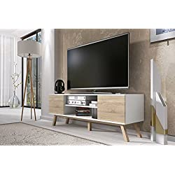 Vero Wood – Mueble TV Moderno / Mesa para TV (150 cm, Blanco Mate / Frentes Marrones Claros)