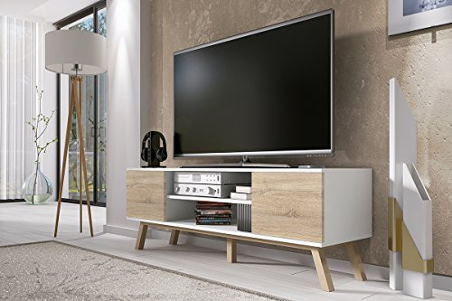 Vero Wood – Mueble TV Moderno / Mesa para TV (150 cm, Blanco Mate / Frentes Marrones Claros)