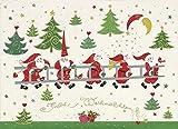 Turnowsky Postkarte Weihnachten Weihnachtsmänner mit Leiter - Weihnachtskarte Set 5 Stück