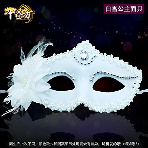 SunMian Gold Powder Spitze maskierte Männer und Frauen Maskerade Masken Halloween Party Maske liefert Krone, Schnee, weiße Maske (Schnee Weiße Krone)