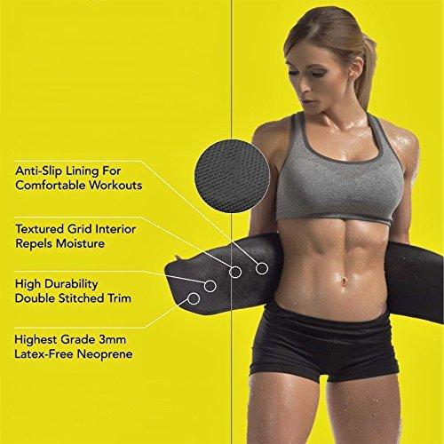 14ad20c4f3 Buy Kraxta Sweat Waist Trimmer Fat Burner Belly Tummy Yoga Wrap Black  Exercise Body Slim Look Belt Free Size Sweat Belt on Amazon