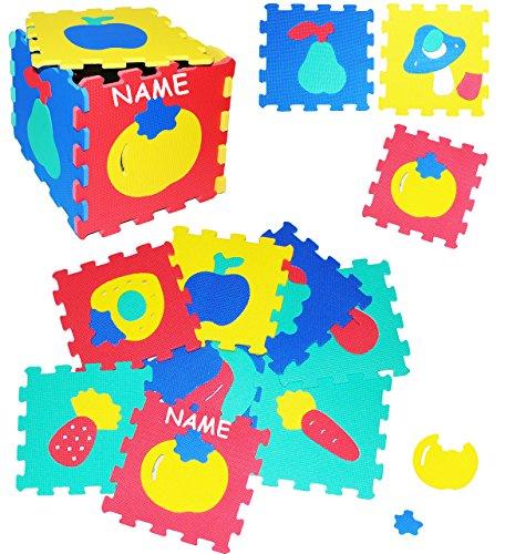 """10 tlg. Set _ Puzzle Teppich aus Moosgummi - """" Früchte - Obst & Gemüse & Formen """" - incl. Name - 10 Matten aus Schaumstoff - zum Puzzeln / Puzzleteppich EVA - Spieleteppich Puzzlematte - Spielmatte Kinderteppich - Bodenmatte - Matte / Spielteppich - für Kinder - Puzzleteppich - Kinderspielteppich / Lernteppich - Schaumstoff / Bodenschutzmatte"""