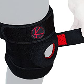 Adjustable Knee Brace Support for Arthritis, ACL, MCL, LCL, Sports Exercise, Meniscus Tear, Injury Recovery, Pain Relief, Walking – Open Patella Neoprene Stabilizer Wrap for Women, Men (Black,Size 2)
